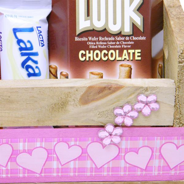 Cesta de Chocolate Pecado Pink detalhe