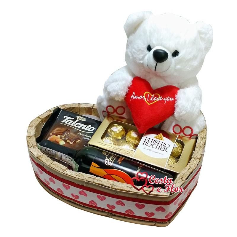 Cesta Vinho e Chocolate Amor I Love You