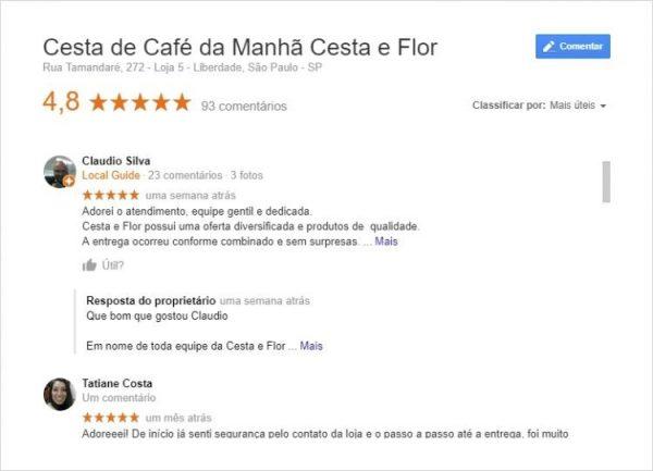 Comentários do Google Cesta e Flor
