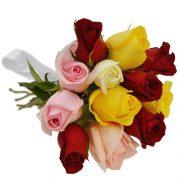 Buque com 12 rosas Coloridas