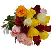 Buque com 24 rosas coloridas