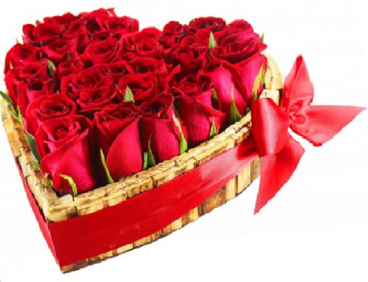 Arranjo de Rosas Coração Apaixonado