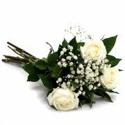 Buque de Rosas Branca 3 unidades