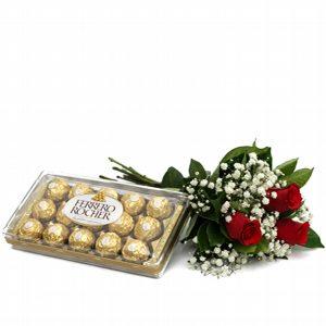 Buquê 3 Rosas Vermelhas com Ferrero