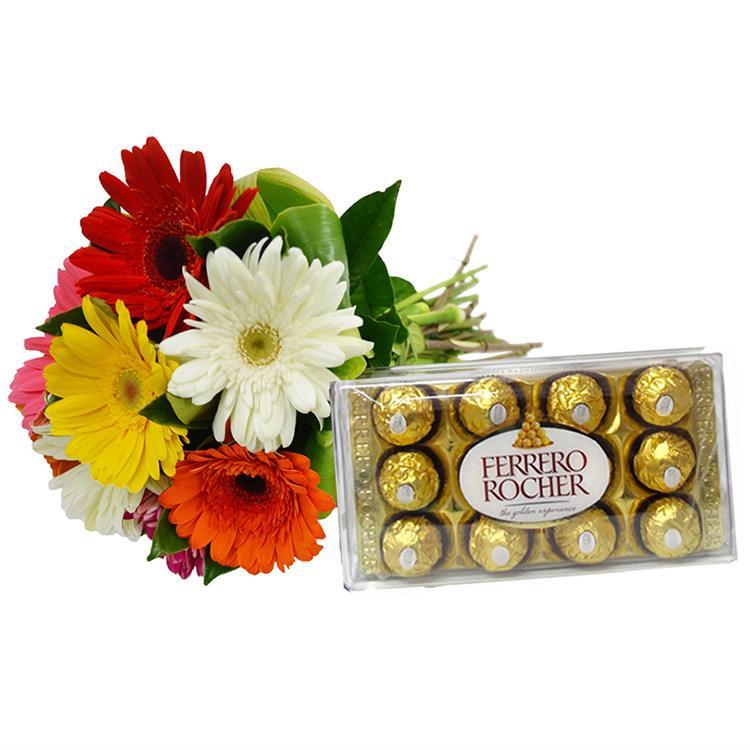 Buque de Gerbera com Ferrero Rocher