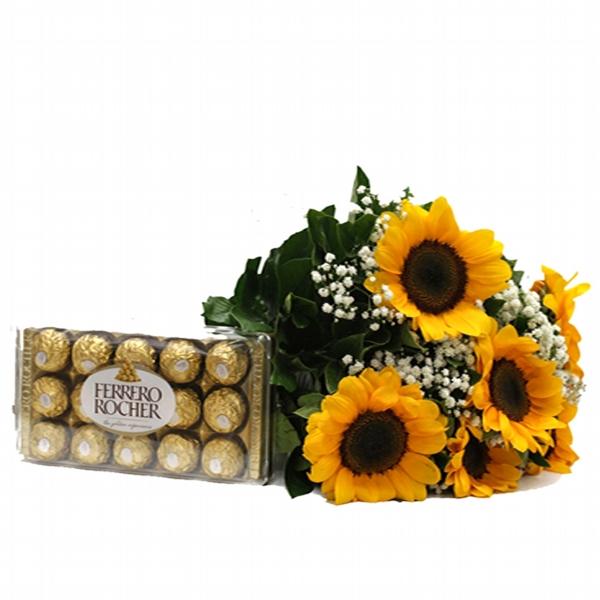 Buque de Girassol com Ferrero Rocher