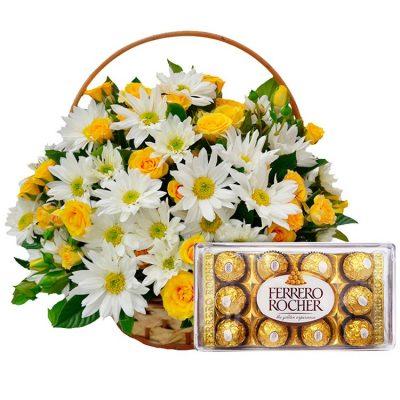 Cesta de Flores com Chocolate Ferrero